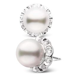 White South Sea Pearl and Diamond Tudor Stud Earrings