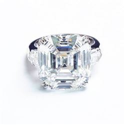 Natural 2.32 CTW 3-Stone Asscher Cut & Bullet Cut Diamond Ring 18KT White Gold