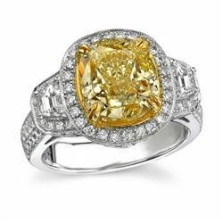 Natural 3.02 CTW Canary Yellow Cushion Cut Diamond Ring 18KT Two-tone