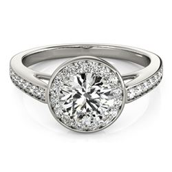 Natural 0.9 ctw Diamond Solitaire Halo Ring 14k White Gold