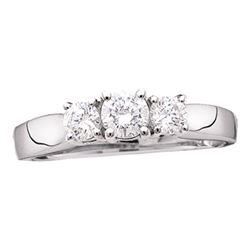 14kt White Gold Round Diamond 3-stone Bridal Wedding Engagement Ring 1 Cttw