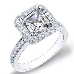 Natural 2.13 CTW Asscher Cut Halo Micro Pave Diamond Engagement Ring 18KT White Gold