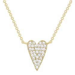 Natural 0.32 CTW Long Heart Diamond Necklace 14KT Yellow Gold