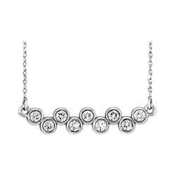 Natural 0.52 CTW Bezel Diamond Up Down Bar Necklace 18KT White Gold