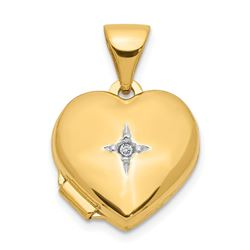 14k Yellow Gold Heart with Diamond Locket - 12 mm
