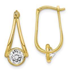 10K Polished Cubic Zirconia Hoop Earrings - 41 mm