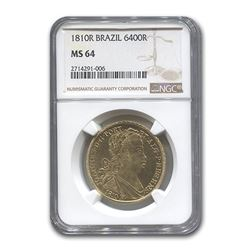 1810 Brazil Gold 6,400 Reis Prince Regent John MS-64 NGC
