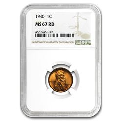 1940 Lincoln Cent MS-67 NGC (Red)