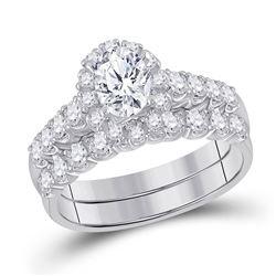 14kt White Gold Oval Diamond Bridal Wedding Ring Band Set 2 Cttw