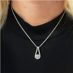 Natural 1.12 CTW Diamond Drop Pendant Necklace 14KT White Gold