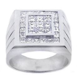 Natural 2.62 CTW Men's Invisible Setting Princess Cut Diamond Ring 18KT White Gold