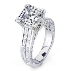 Natural 4.32 CTW Celebrity Asscher Cut Diamond Engagement Ring 18KT White Gold