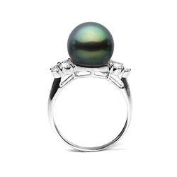 Black Tahitian Pearl and Diamond Anniversary Ring