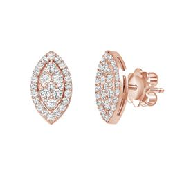 Natural 0.82 CTW Marquise Pave Diamond Earrings 14KT Rose Gold