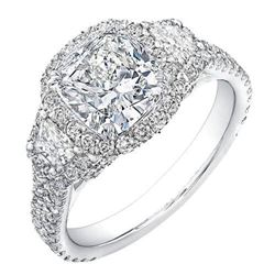 Natural 5.42 CTW Halo Cushion Cut & Trapezoids Diamond Engagement Ring 14KT White Gold