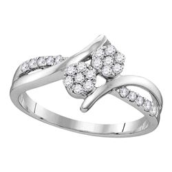 14kt White Gold Round Diamond Double Cluster Bridal Wedding Engagement Ring 1/3 Cttw
