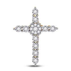 14kt Yellow Gold Womens Round Diamond Cross Pendant 1/4 Cttw