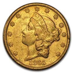 1865-S $20 Liberty Gold Double Eagle XF