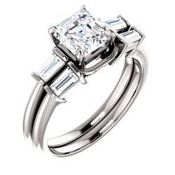 Natural 3.12 CTW Asscher Cut & Baguette Diamond Bridal Set 18KT White Gold