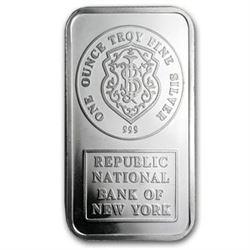 1 oz Silver Bar - Johnson Matthey (Republic National Bank of NY)