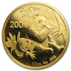 2007 China 1/2 oz Gold Panda BU (Sealed)