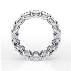 Natural 8.02 CTW Emerald Cut U-Setting Diamond Eternity Ring 18KT White Gold