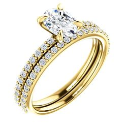 Natural 2.92 CTW Oval Cut Diamond Engagement Ring 14KT Yellow Gold