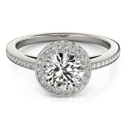 Natural 1.25 ctw Diamond Solitaire Halo Ring 14k White Gold