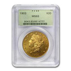1903 $20 Liberty Gold Double Eagle MS-63 PCGS