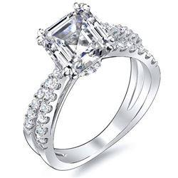 Natural 2.67 CTW Asscher Cut Cross Over Diamond Engagement Ring 18KT White Gold