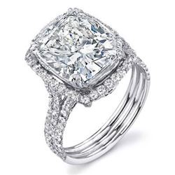 Natural 4.32 CTW Halo Split Shank Cushion Cut Diamond Ring 14KT White Gold