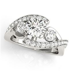 Natural 1.76 ctw Diamond Bypass Ring 14k White Gold