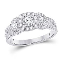 14kt White Gold Round Diamond 3-stone Bridal Wedding Engagement Ring 1-1/4 Cttw