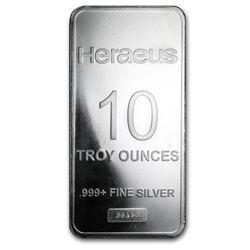 10 oz Silver Bar - Heraeus (Pressed)