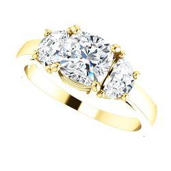 Natural 3.62 CTW Cushion Cut & Half Moons 3-Stone Diamond Ring 14KT Yellow Gold