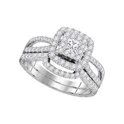 14K White Gold Princess Diamond Bridal Wedding Ring Band Set 1 Cttw