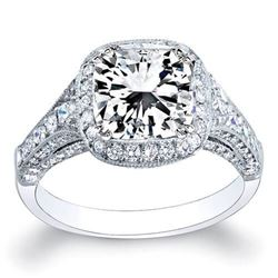 Natural 3.54 CTW Radiant Cut Diamond Engagement Ring 18KT White Gold