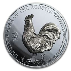 2017 Mongolia Silver 500 Togrog Year of the Rooster (High Relief)