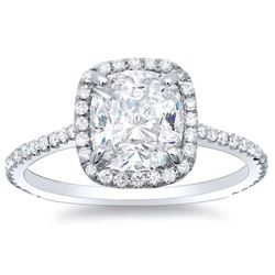 Natural 2.97 CTW Rectangle Cushion Cut Halo Diamond Engagement Ring 14KT White Gold