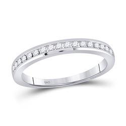 14kt White Gold Womens Round Diamond Wedding Single Row Band 1/4 Cttw