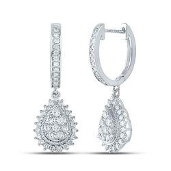 14kt White Gold Womens Round Diamond Teardrop Dangle Earrings 7/8 Cttw