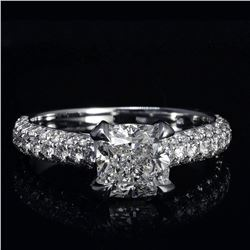 Natural 1.92 CTW Cushion Cut 3 Row Pave Diamond Engagement Ring 18KT White Gold