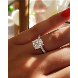Natural 2.62 CTW Cushion Cut Solitaire Diamond Engagement Ring 18KT White Gold