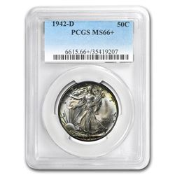 1942-D Walking Liberty Half Dollar MS-66+ PCGS