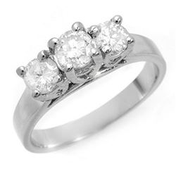 1.50 ctw Certified VS/SI Diamond 3 Stone Ring 14k White Gold - REF-204W4H
