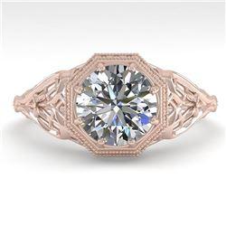 1.50 ctw VS/SI Diamond Engagment Ring Art Deco 18k Rose Gold - REF-547A8N