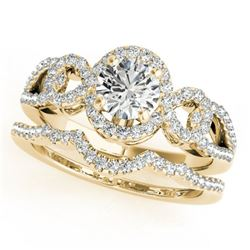 1.55 ctw Certified VS/SI Diamond 2pc Wedding Set Halo 14k Yellow Gold - REF-291H8R