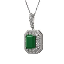 11.99 ctw Emerald & Diamond Victorian Necklace 14K White Gold - REF-327M3G