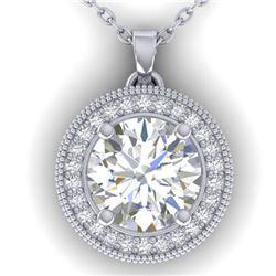 2 ctw VS/SI Diamond Art Deco Micro Halo Necklace 14k White Gold - REF-457G9W