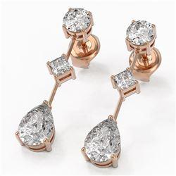 2.32 ctw Pear Cut Diamond Designer Earrings 18K Rose Gold - REF-312H8R